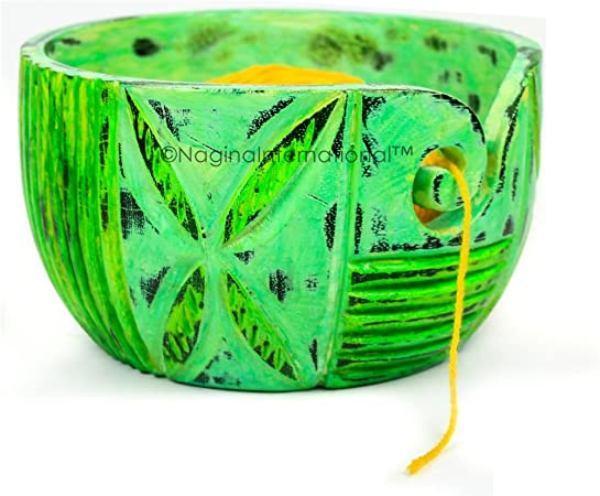 Small Nagina International Exquisite Premium Yarn Ball Storage Bowls Hand Painted Lovely Decor Yet Functional Yarn Dispenser 6 x 3 x 6 Inches , Algae Green