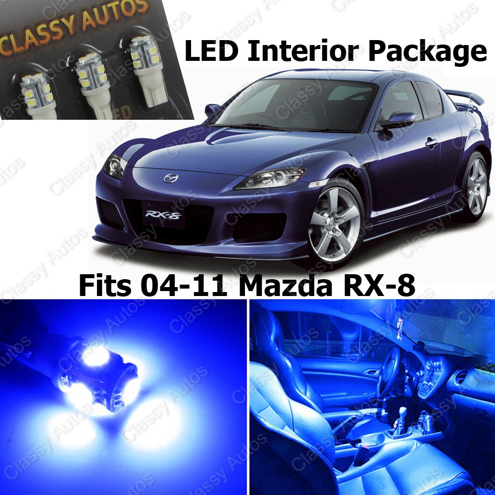 Amazon.com: Classy Autos Blue LED Lights Interior Package Deal Mazda RX 8  (6 Pieces): Automotive