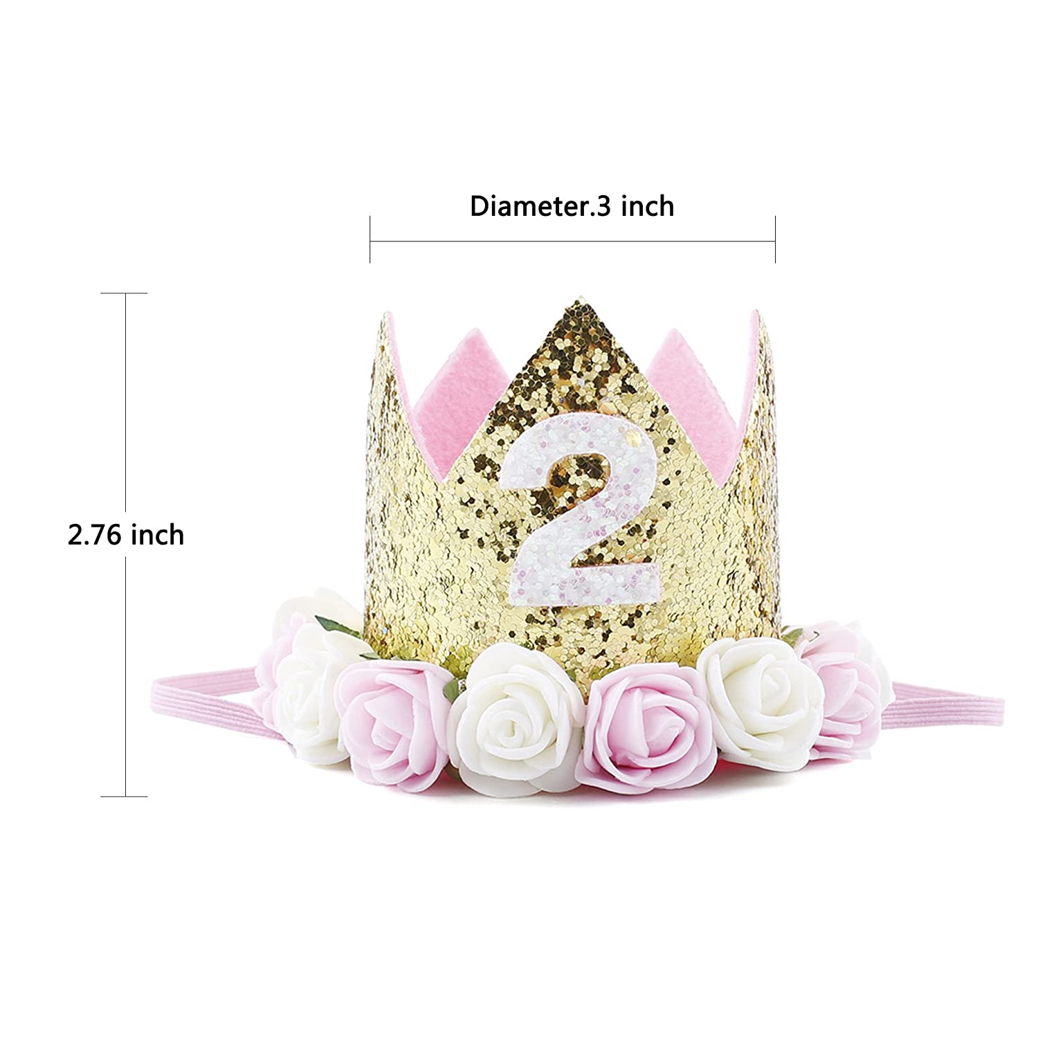 545c18efee4 Amazon.com   Baby Princess Tiara Crown Baby Girls First Birthday Hat  Sparkle Rose Flower Crown Birthday Headband Hair Accessories for Baby  Shower 1st 2nd ...
