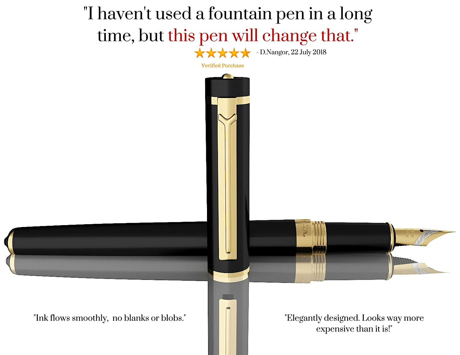 Fine Nib Fountain Pen by Dryden INTENSE BLACK WITH GIFT BOX | Precision Collection | Free Ink Converter Included | Best Fountain Pen Gift
