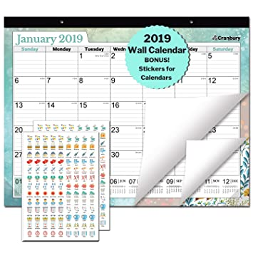 Amazon Com Large Desk Calendar 2018 2019 17 75 X 13 75 Wall