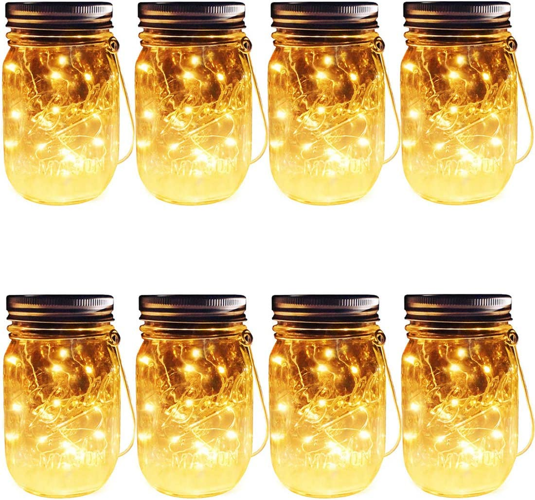 Solar Mason Jar Hanging Lights, 8 Pack 30 LEDs Hangers Jars Included String Fairy Lights Glass Solar Laterns Table Lights,Outdoor Lawn Lamps D cor for Patio Garden,Yard,Floor,Steps and Deck