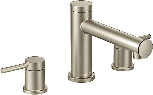 Moen T393BN Align 2-Handle Deck Mount Modern Roman Tub Faucet Trim Kit, Valve Required, Brushed Nickel