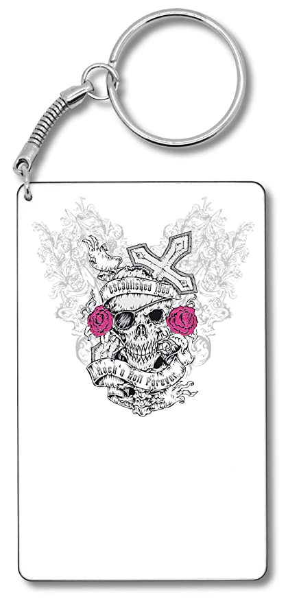 Rock n Roll Forever Skull Cross Pink Roses Llavero Llavero ...