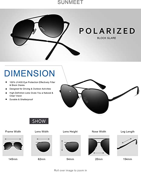 UV400 Protection SUNMEET Aviator Polarized Sunglasses For Men Women
