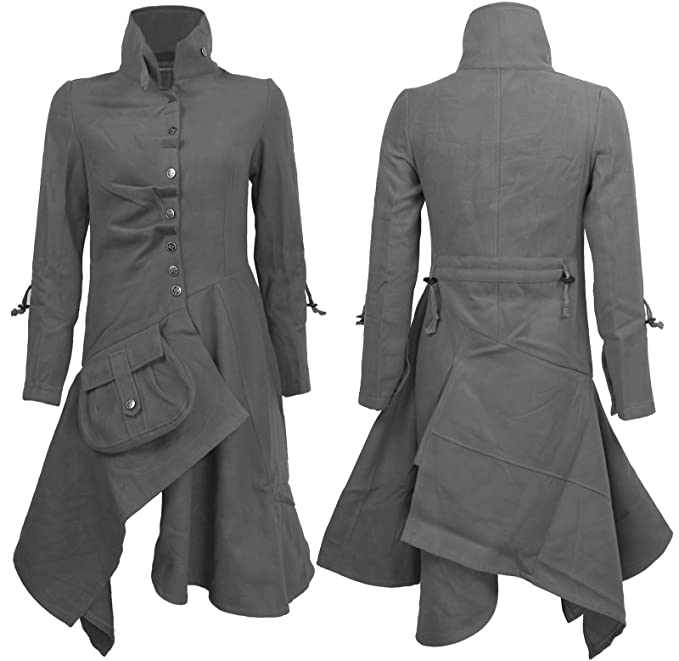 De la Mujer Estilo Militar Ajustable Largo Embudo Cuello perchero de pared de chaqueta Drape Top