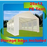 26'x13' PE Party Tent White - Heavy Duty Wedding Canopy Carport - By DELTA Canopies