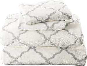 Micro Fleece Extra Soft Cozy Velvet Plush Sheet Set. Deluxe Bed Sheets with Deep Pockets. Velvet Luxe Collection (Queen, White/Grey)