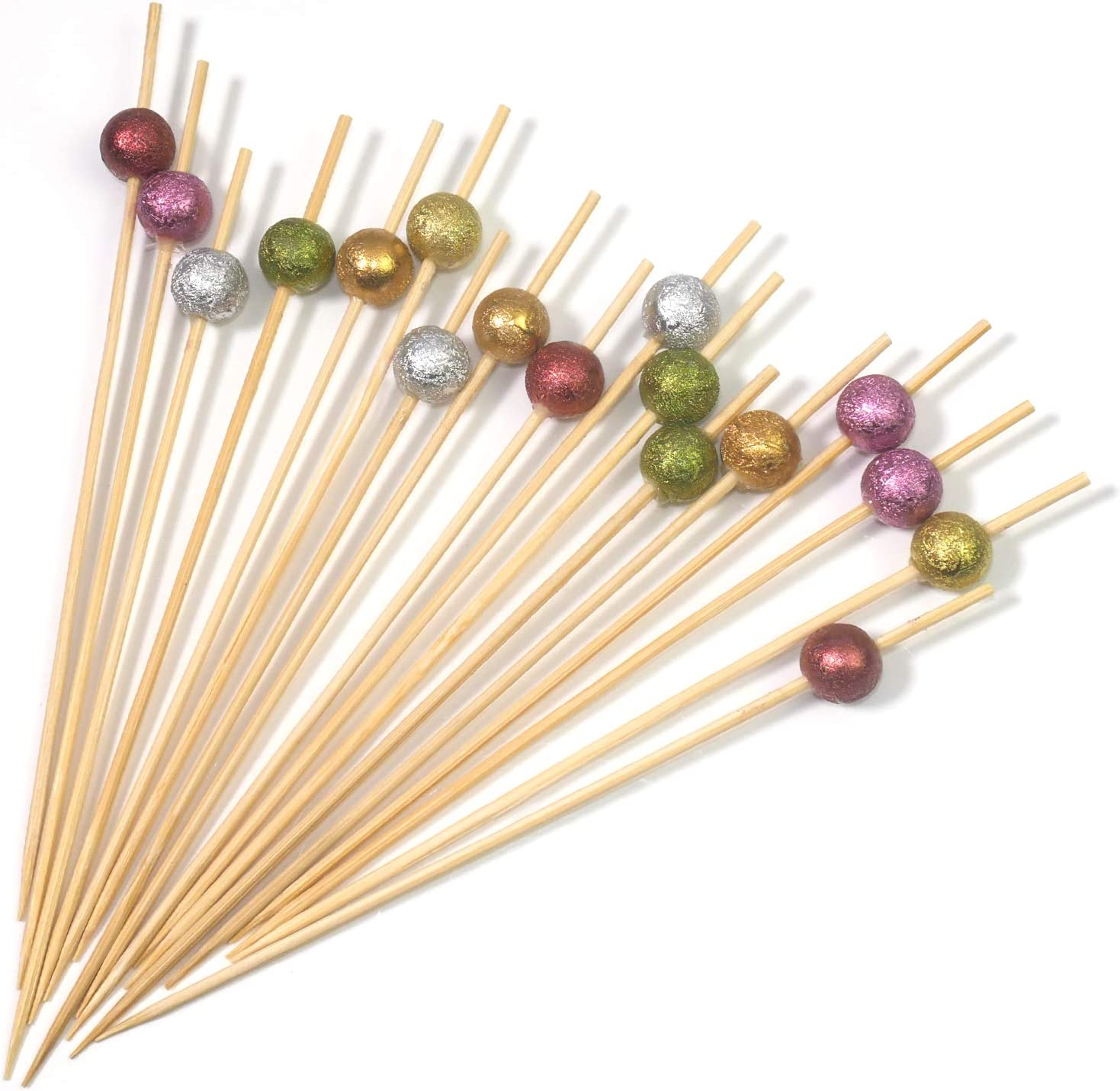 PuTwo Pearl Toothpicks 5 Counts Appetizer Toothpicks 5.5 Inch Decorative  Toothpicks in Assorted Metalic Colors cocktail picks for Appetizer Wooden