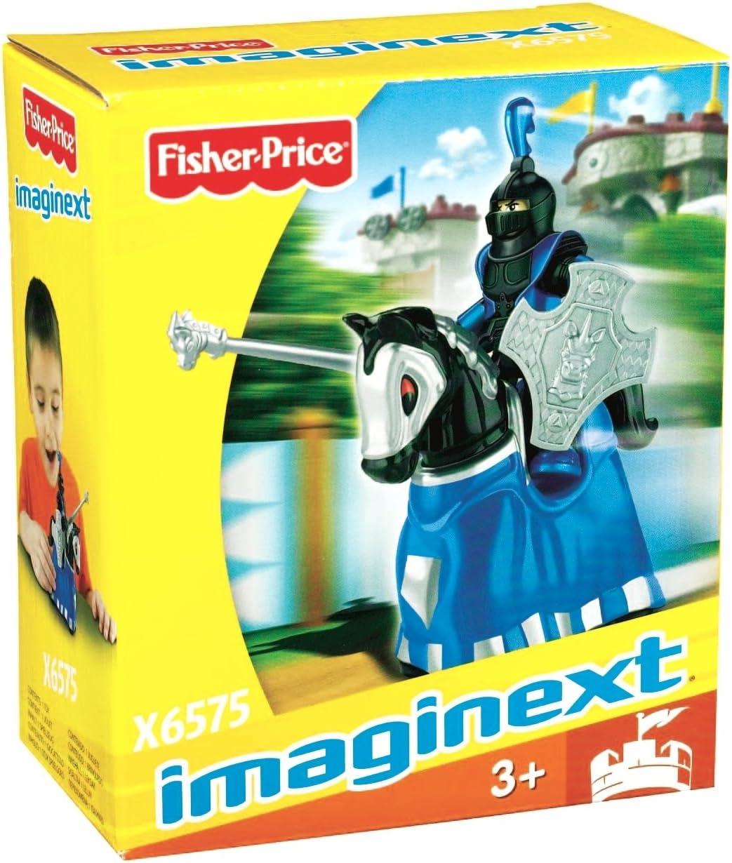 Imaginext - Figura Castillo, Caballero con Caballo, Color Negro y Azul (Mattel X6575)