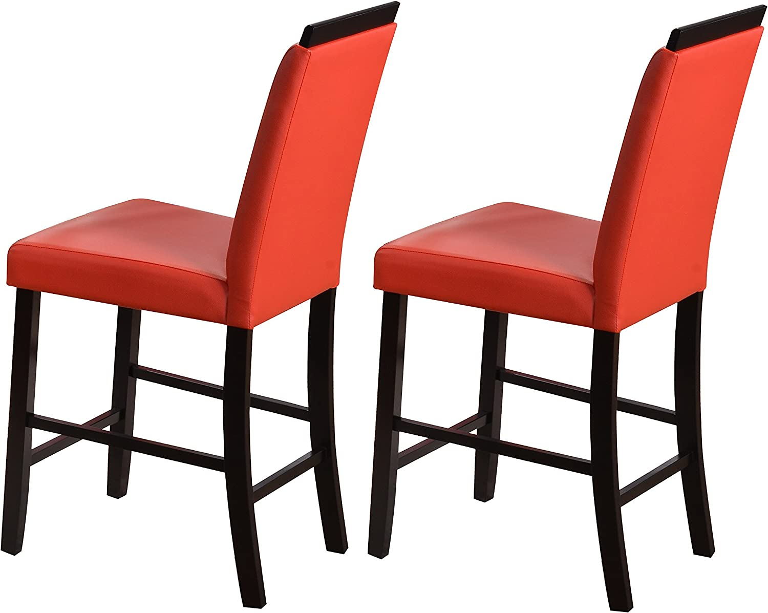 Kings Brand Furniture Counter Parsons Dining Chairs (Set of 2), Red, 24
