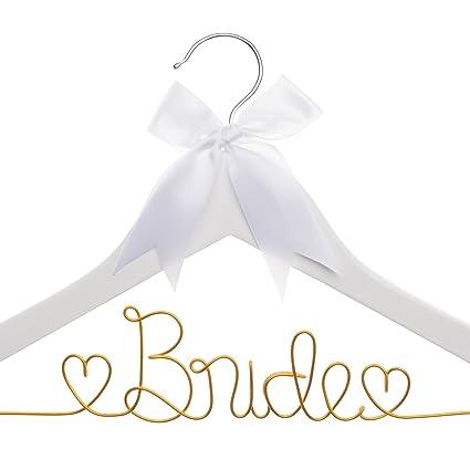 Wedding Dress Hanger.Ella Celebration Bride To Be Wedding Dress Hanger White Wooden And Orange Wire Bridal Hangers For Brides White With Orange
