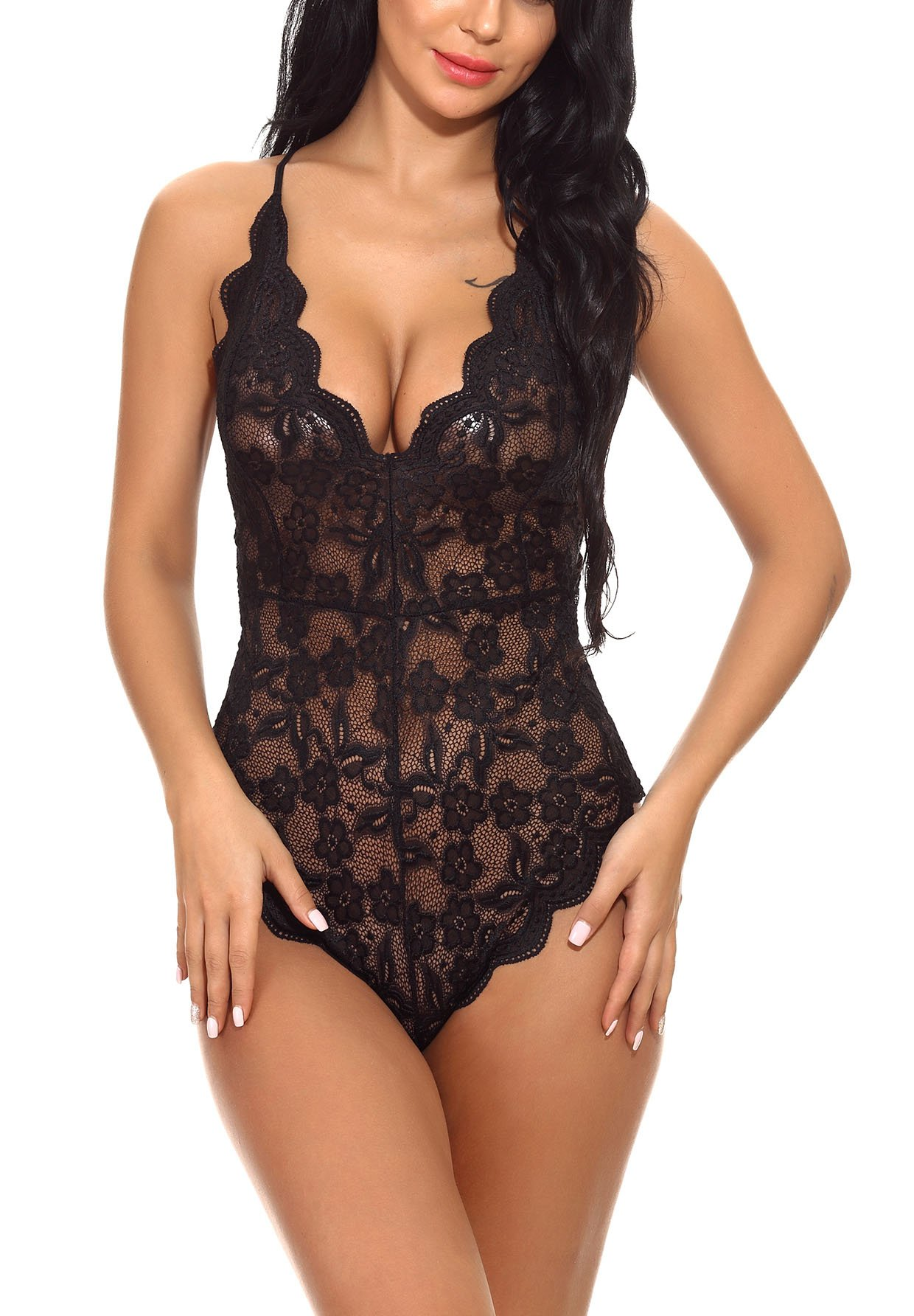 bcc7201ac Womens One Piece Lingerie Teddy Bodysuit Nightwear Lace Babydoll product  image
