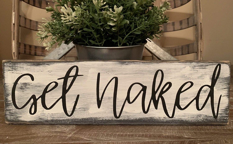 Dozili Rustic Wood Sign Get Naked Bathroom Bedroom Laundry Home Decor Farmhouse