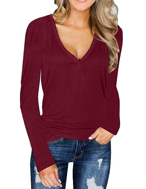 SEBOWEL Women s Button Knit Deep V Neck Long Sleeve Henley Shirts Tunic Tops  at Amazon Women s Clothing store  e09f412a0