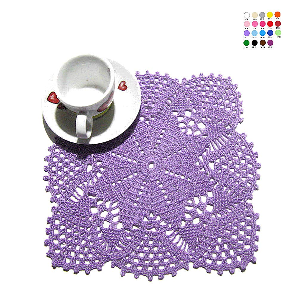 Tapete pequeño lila de ganchillo en algodón - Tamaño: ø 23 cm x 23 ...