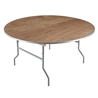 Iceberg 56260 Banquet Plywood Folding Table, Natural, 60 Inch Round
