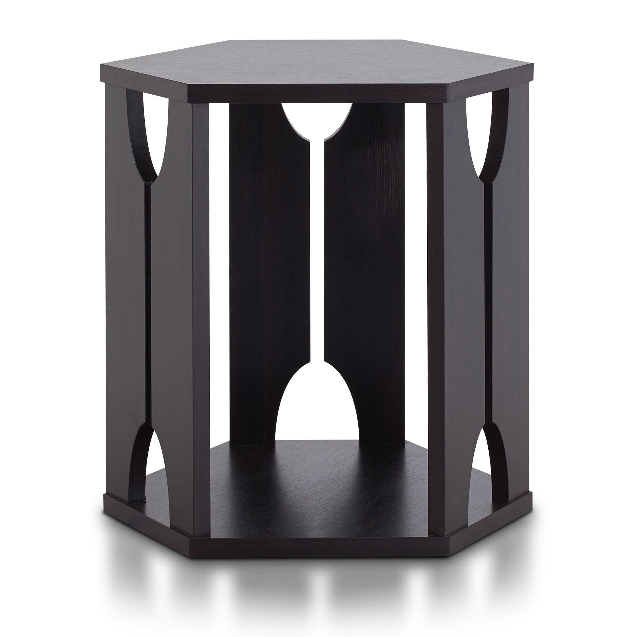 Furniture of America Piko Modern Espresso Hexagon End Table