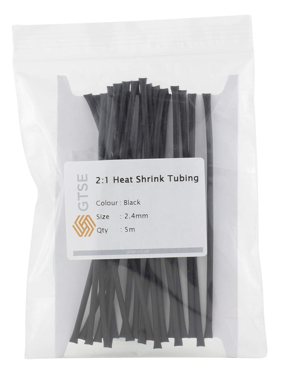 Tubo termorretr/áctil adhesivo 2:1 para aislamiento el/éctrico 1 Negro 1.2mm funda para cable retr/áctil aislamiento t/érmico GTSE 1 longitud de corte de 5 m