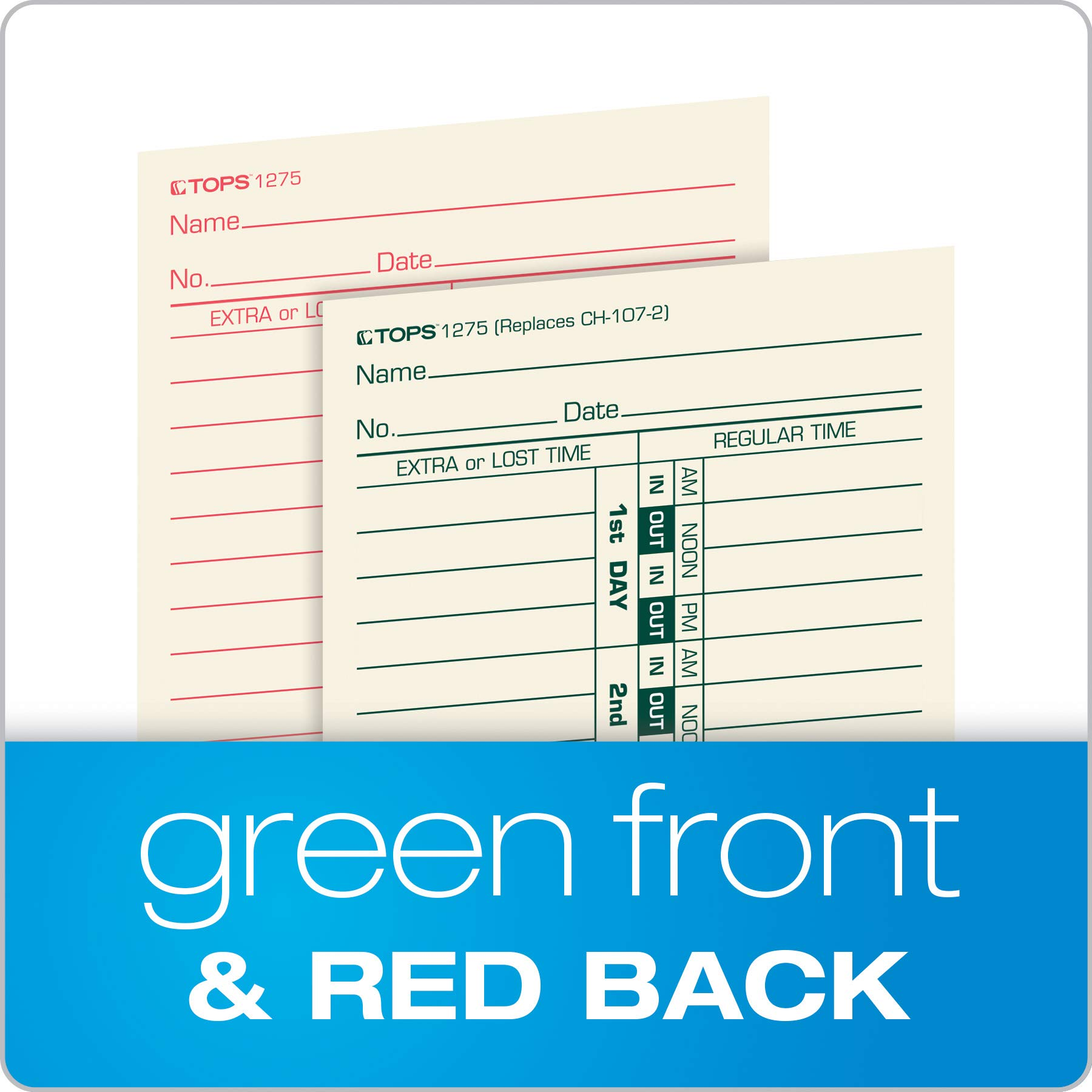TOPS Time Cards, Bi-Weekly, 2-Sided, Numbered Days, 3-1/2'' x 9'', Manila, Green/Red Print, 500-Count (1275) by Tops (Image #4)