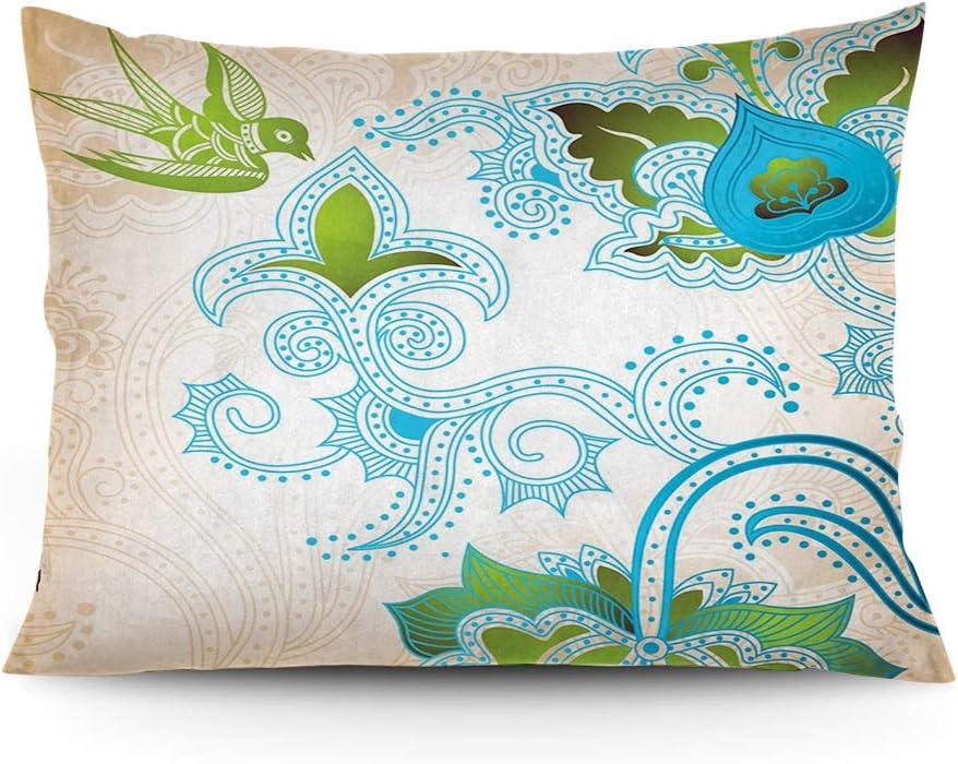 2 pcs Standard Size F.Beige Jacquard Satin Paisley Pillow Cases//Cushion Covers