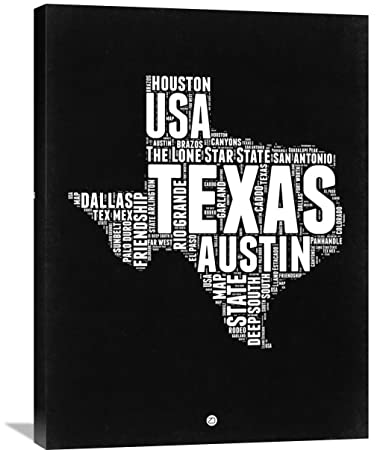 "Naxart Studio Texas Black and White Map - I Giclee on Canvas, 24"" by"