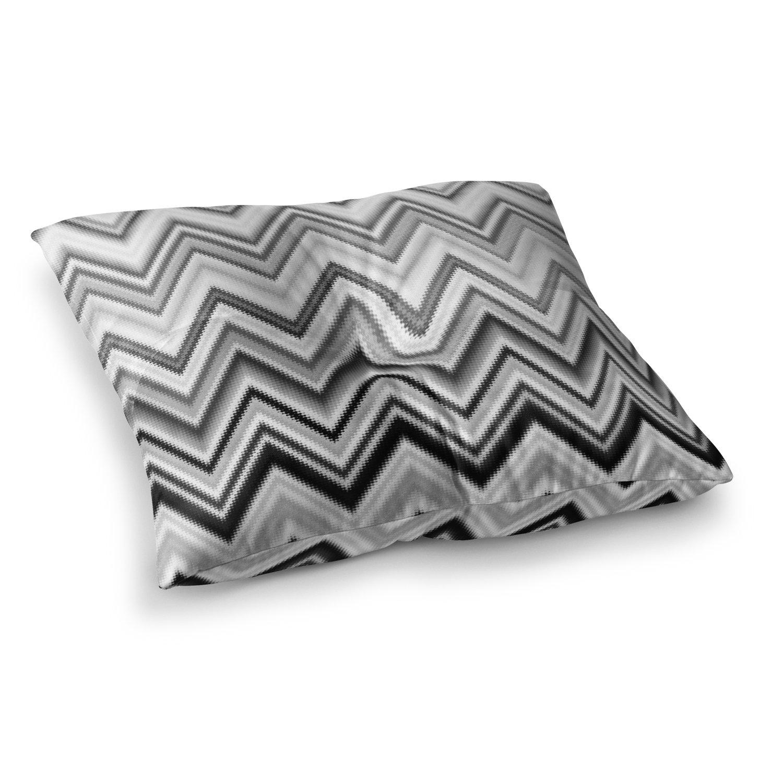 Kess InHouse Nika Martinez Seventies Chevron in BW Black Pattern 23 x 23 Square Floor Pillow