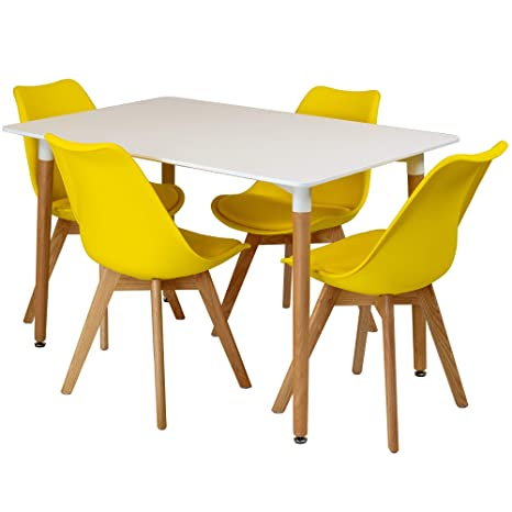Furniture 4x Design Dining Table Chairs Set Retro Fabric Dinner Seat Grey Kitchen Round Home Furniture Diy Breadcrumbs Ie