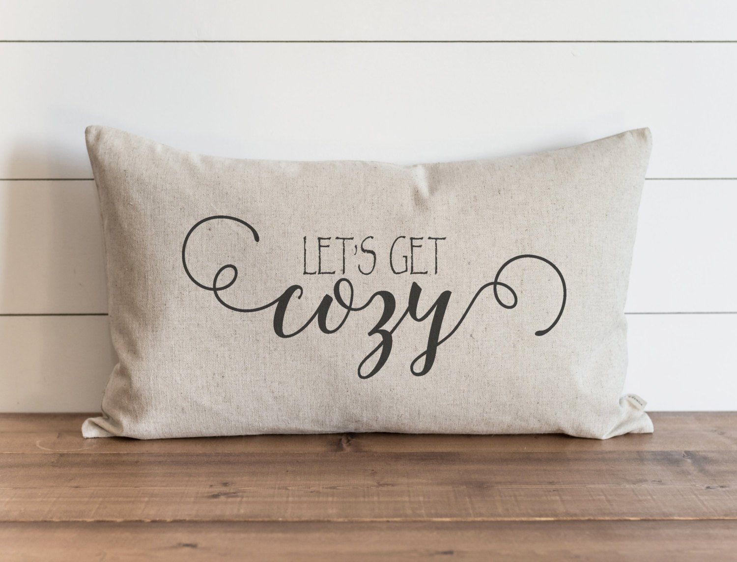 CAROLJU Lets Get Cozy 16 x 26 inch Pillow Cover Everyday Winter Christmas Holidays Throw Pillow Gift for Her Accent Pillow