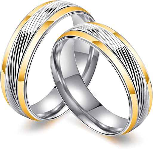 Bishilin 2Pcs Stainless Steel Wedding Ring Sets Men and Women Black High Polished 8MM 6MM Coupel Rings Women Size 6 /& Men Size 10