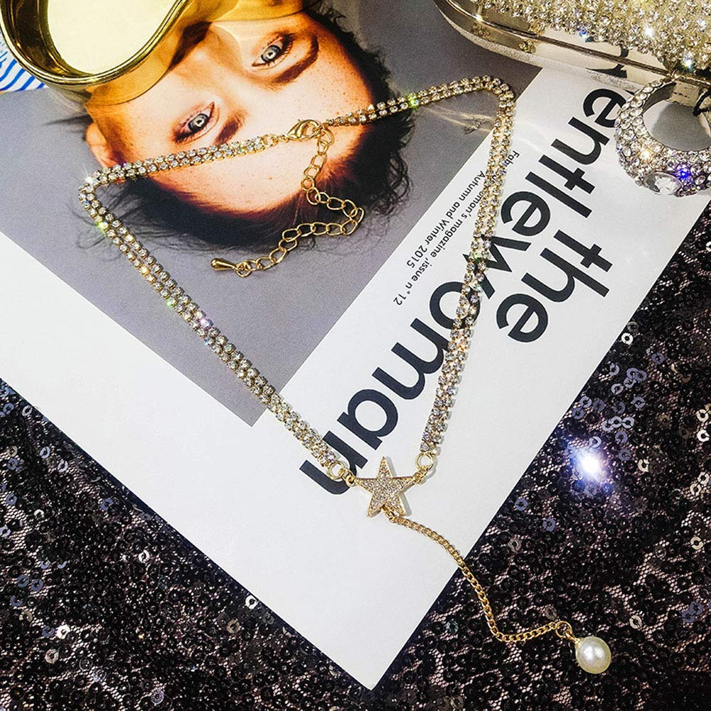 Janicestyle Lucky Star Choker Necklace Pendant Disc Chain Statement Necklace Women Girls