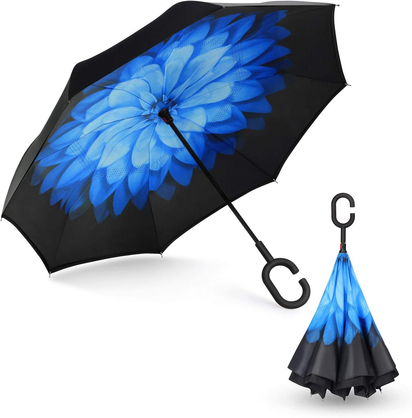 Reverse Folding Inverted Umbrella Double Layer Wind Proof UV Proof Inside Out Car Self Standing Umbrella Blue Flower