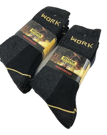 Work - Calcetines de trabajo reforzados (6 pares, esponja de algodón de refuerzo en
