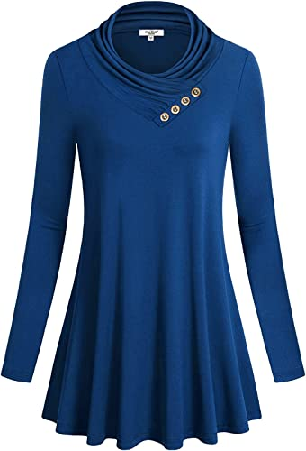 TALLA XXL. Anna Smith Women Button Cowl Neck una línea Manga Larga Acampanada Dobladillo Blusa túnica Top