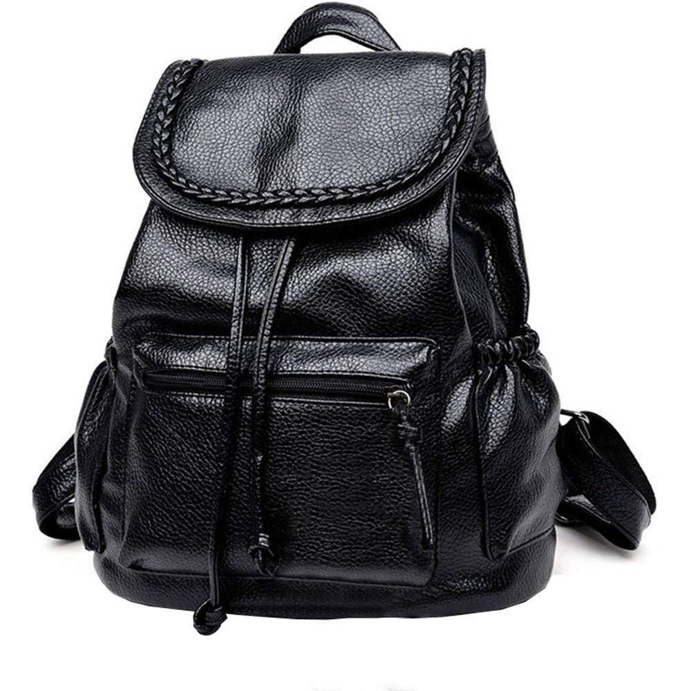 yodaliy PU Leather Vintage Women Lady Travel Backpack Rucksack Shoulder Bag Braid Satchel Handbag,Mini Backpack Girls Backpack Fashion Backpack Lightweight School Bag Black