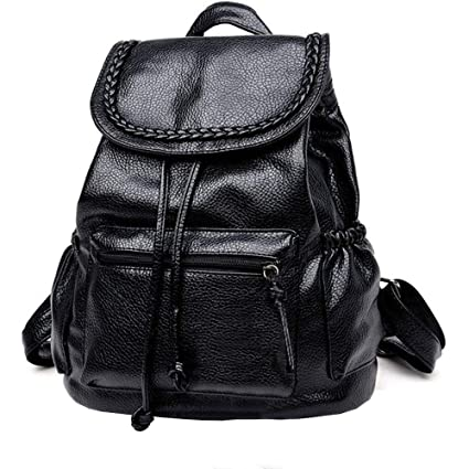 5c05e511c806 yodaliy PU Leather Vintage Women Lady Travel Backpack Rucksack Shoulder Bag  Braid Satchel Handbag