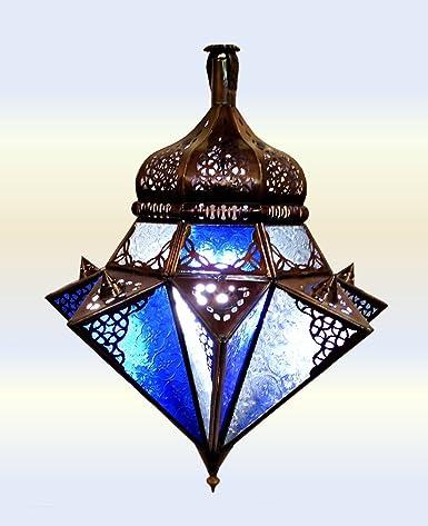 Lámpara de techo marroquí de Fes - Cristal claro y azul - 50Cm