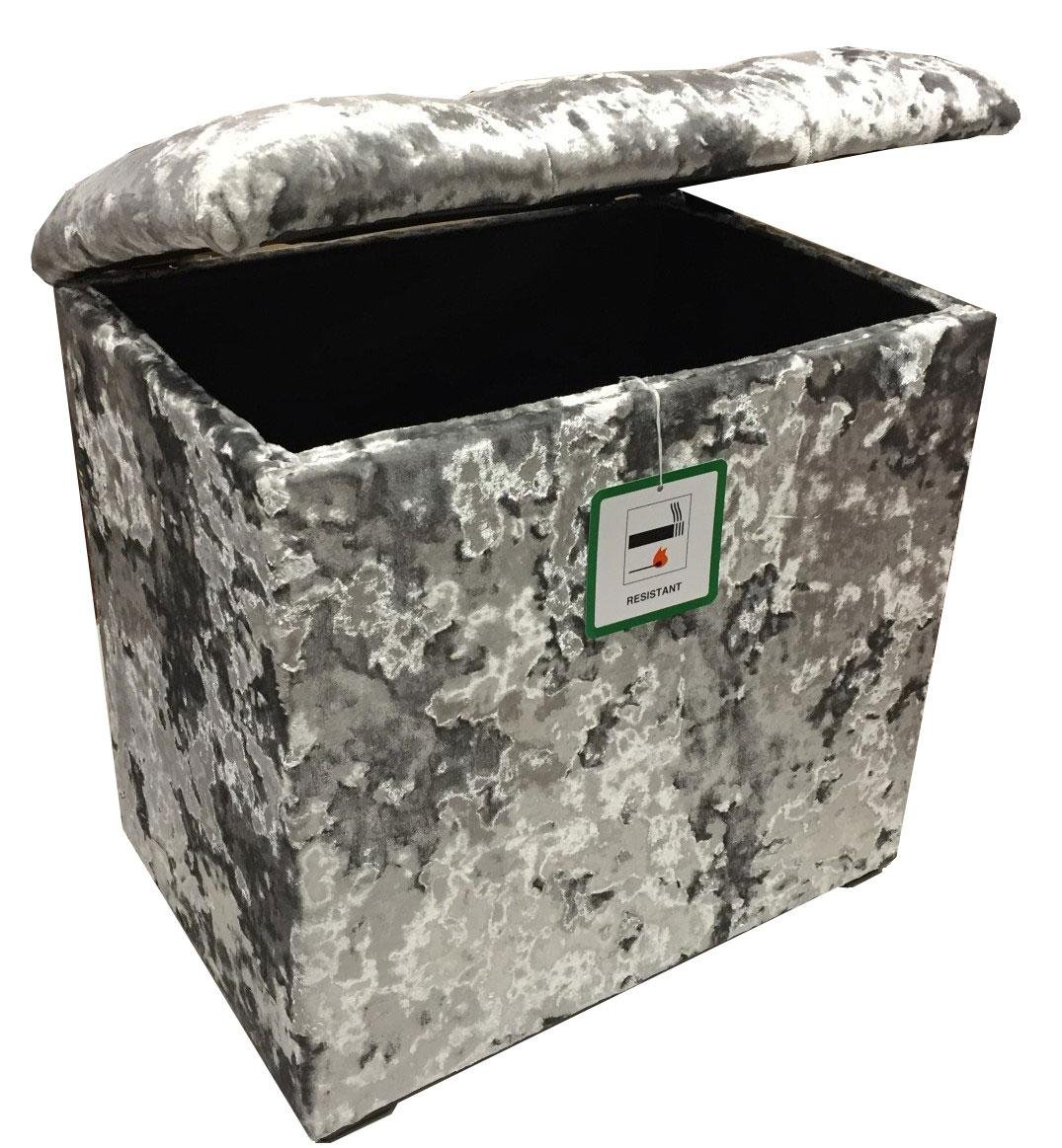 Elegance Furnishings Small Linen Box/Dressing Table Stool a lift up Diamond Crystal lid in a Quality Silver Velvet fabric.Ideal any room in the house J and M Furnishings