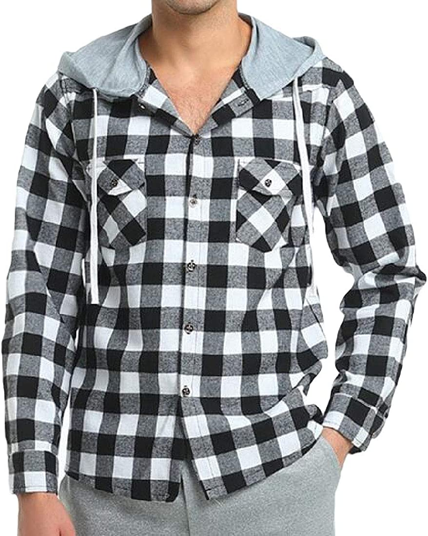CYJ-shiba Men Casual Long Sleeve Plaid Hooded Drawstring Coat Button Down Outwear Jackets