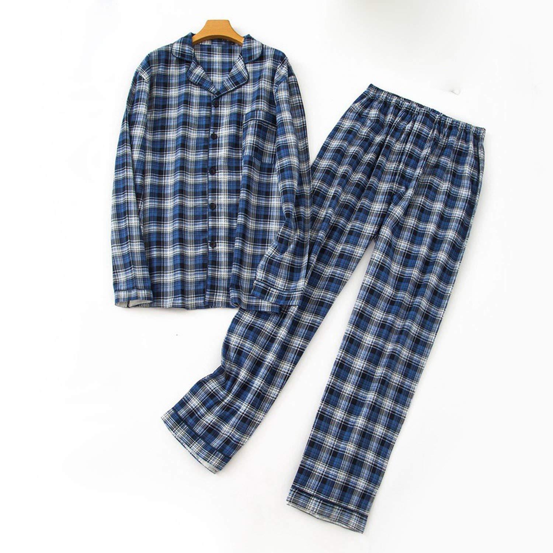 JIESENGTOO Spring Winter Cotton Pajamas Men Blue Grid Home Suit,1,M