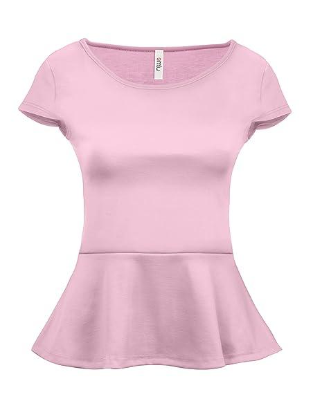 dfd8eb02efd22 Simlu Short Sleeve Womens Peplum Shirt Reg and Plus Size Peplum Top Made in  USA