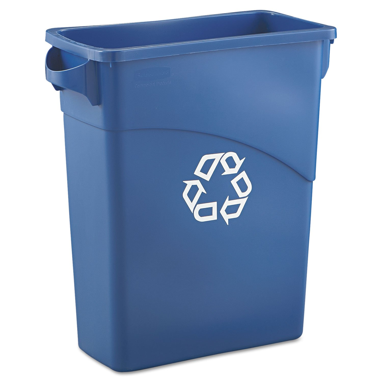 RCP354173BLU Slim Jim Recycling W/Handles, Rectangular, Plas., 15 7/8 gal, Blue