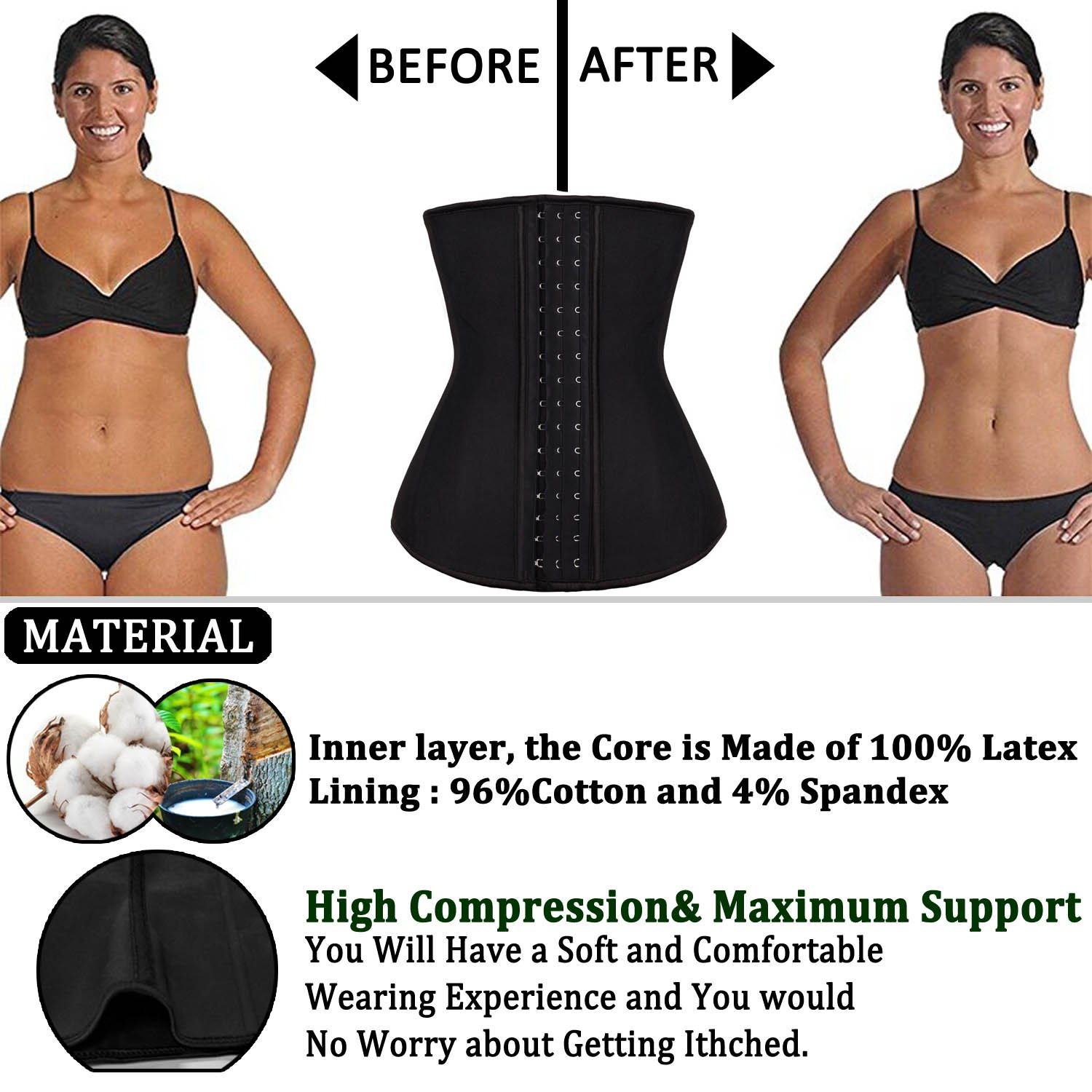 2fa99a76bc Amazon.com  ROMUCHE Waist Trainer Corset for Weight Loss - Body Shaper for  Women Waist Cincher Slimmer Workout  Sports   Outdoors
