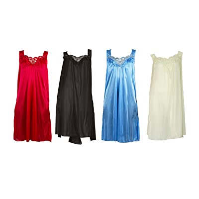 4 Pack of Silky Lace Accent Sheer Nightgowns - Medium to 4X Available (9006) at Amazon Women's Clothing store