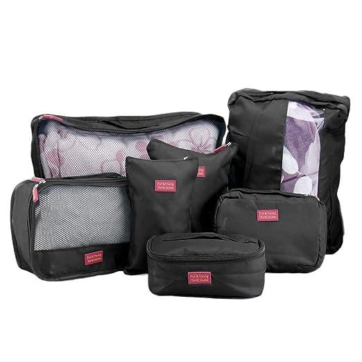 Juego de 7 bolsas esenciales de viaje para equipaje, maleta ...