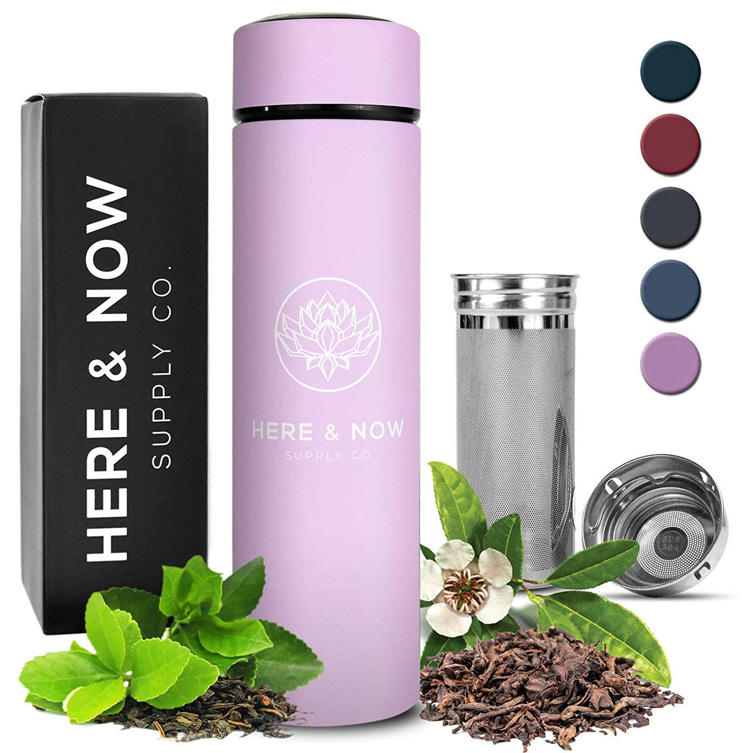 Multi-Purpose Travel Mug and Tumbler | Tea Infuser Water Bottle | Fruit Infused Flask | Hot & Cold Double Wall Stainless Steel Coffee Thermos | EXTRA LONG INFUSER | by Here & Now Supply Co. (Lilac)