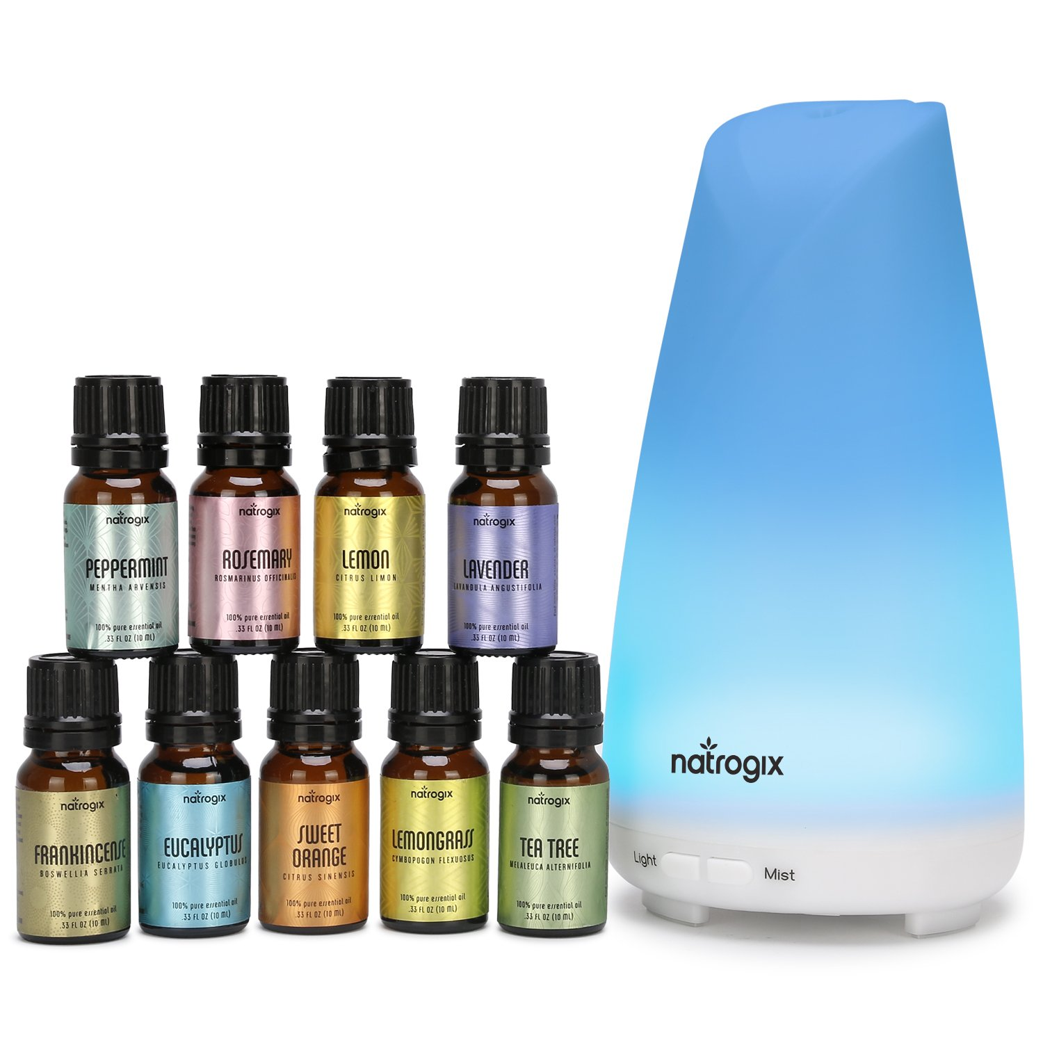 Essential Oil Diffuser 150ml by Natrogix Totem - Cool Mist Aroma Humidifier for Aromatherapy 7 Colors with Changing Colored LED Lights, Waterless Auto Shut-off and Adjustable Mist Mode w/ Free E-Book