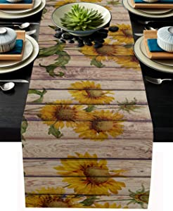 Sunflowers Rustic Table Runner-Cotton linen-Long 108 inche Dresser Scarves,Farmhouse Tablerunner for Kitchen Coffee/Dining/Sofa/End Table Home Living Room,Scarf Decor for Spring/Summer/Fall Dinner