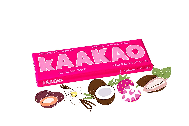 kAAKAO Strawberry & Vanilla Organic, Plant-Powered, Vegan, Illegal  Chocolate Sweetened with Dates (Single 40g bar)