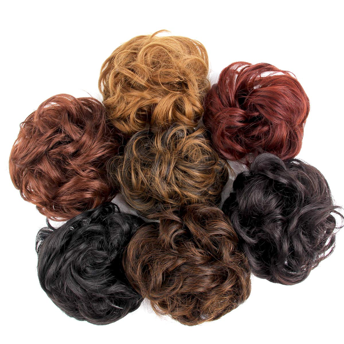 Leeons Wavy Donut Updo Ribbon Ponytail Hair Extensions Curly Messy Bun Dish Scrunchy Scrunchie Hairpiece Wave Bun Scrunchie Synthetic Hair Bun (#2) by LEEONS (Image #3)
